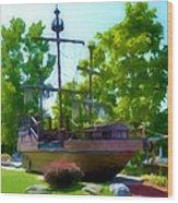 Funplex Funpark Boat 3 Wood Print by Lanjee Chee
