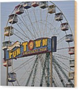Funtown Ferris Wheel Wood Print