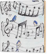 Fur Elise Song Birds Wood Print