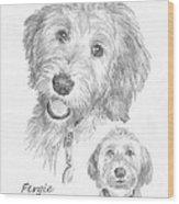 Furry Dog Friend Pencil Portrait Wood Print