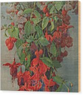 Fushia And Snapdragon In A Vase Wood Print