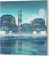 Futuristic City On Water Wood Print