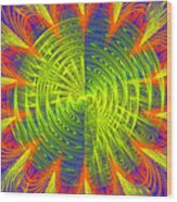 Futuristic Disc Blue Red And Yellow Fractal Flame Wood Print