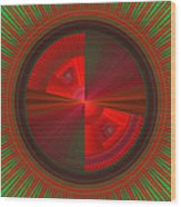 Futuristic Green And Red Tech Disc Fractal Flame Wood Print