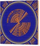 Futuristic Tech Disc Blue And Orange Fractal Flame Wood Print