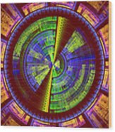 Futuristic Tech Disc Red Green And Yellow Fractal Flame Wood Print