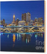 Fx2l530 Columbus Ohio Night Skyline Photo Wood Print