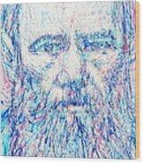 Fyodor Dostoyevsky / Colored Pens Portrait Wood Print
