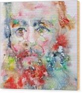 Fyodor Dostoyevsky - Watercolor Portrait.4 Wood Print