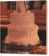 G And V Wedding Cake Wood Print