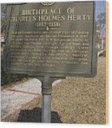 Ga-005-10 Birthplace Of Charles Holmes Herty 1867-1938 Wood Print