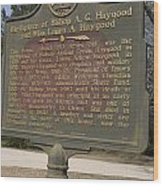 Ga-108-2 Birthplace Of Bishop A. G. Haygood And Miss Laura A. Haygood Wood Print