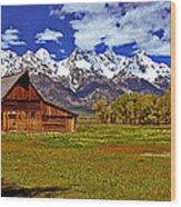 Gable Roof Barn Panorama Wood Print
