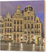 Gabled Buildings In Grand Place Wood Print
