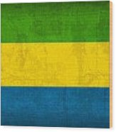 Gabon Flag Vintage Distressed Finish Wood Print