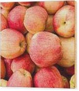 Gala Apples On Display Wood Print