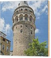 Galata Tower Landmark In Istanbul Turkey Wood Print