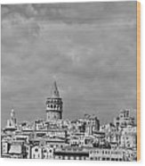 Galata Tower Mono Wood Print