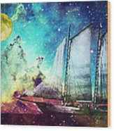 Galileo's Dream - Schooner Art By Sharon Cummings Wood Print