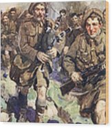 Gallant Piper Leading The Charge Wood Print by Cyrus Cuneo