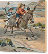 Galloping Donkey At The Beach Wood Print