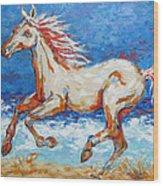 Galloping Horse On Beach Wood Print