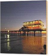 Galveston Fishing Pier 2am-108856 Wood Print