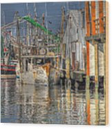 Galveston Shrimp Boats Wood Print