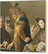 Gamblers In The Foyer Wood Print by Johann Heinrich Tischbein