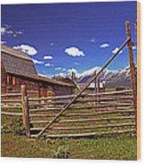 Gambrel Barn And Tetons Wood Print