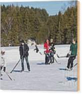 Game Of Ice Hockey On A Frozen Pond  Wood Print