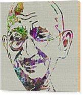 Gandhi Watercolor Wood Print