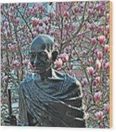 Union Square Gandhi With Magnolias Wood Print