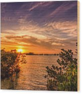 Gandy Sunset Wood Print