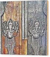 Ganesh Door Plating At The Yoga Maya Hindu Temple In New Delhi India Wood Print