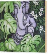 Ganesh With Jasmine Flowers Wood Print