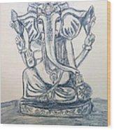 Ganesha In Blue Wood Print