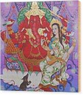 Ganesha  Laksami Wood Print