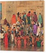 Ganges Pilgrims Wood Print