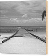 Gangplank Of Perfection Black And White Wood Print