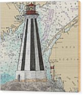 Gannet Rock Lighthouse New Brunswick Canada Nautical Chart Art Wood Print