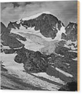 509427-bw-gannett Peak And Gooseneck Glacier, Wind Rivers Wood Print