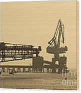 Gantry Crane In Port Wood Print