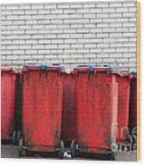 Garbage Bins Wood Print