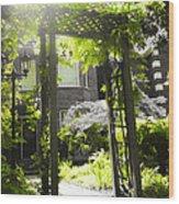 Garden Arbor In Sunlight Wood Print by Elena Elisseeva