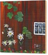 Garden At The Red Barn Wood Print