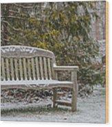 Garden Bench During Winter Snowfall At Sayen Gardens Wood Print