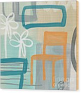 Garden Chair Wood Print by Linda Woods