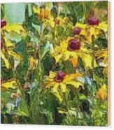 Garden Flowers In Yellow Wood Print