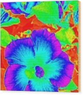Garden Flowers / Solarized Effect Wood Print